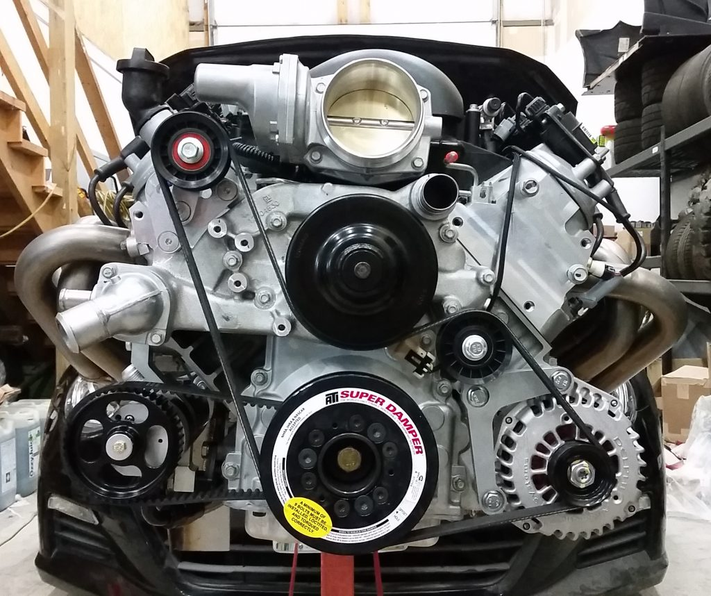 Monster 86 Subaru Brz And Toyota V8 Conversion Element Tuning Ej20 Engine Wiring Diagram Here Is A More Typical Street Or Drag Ls Belt Routing That Proved Unreliable On The Track So We Modified System To Have Wrap Crank